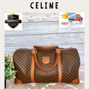 💯 Celine boston bag satchel macadam pvc brown